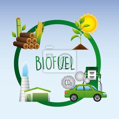 Biokraftstoff lebenszyklus auto biomasse ethanol fabrik pflanze ...
