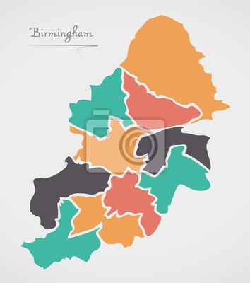 Birmingham Karte.Fototapete Birmingham Karte Mit Bezirken Und Modernen Runden Formen