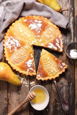 Fototapete Birnenkuchen mit Mandeln