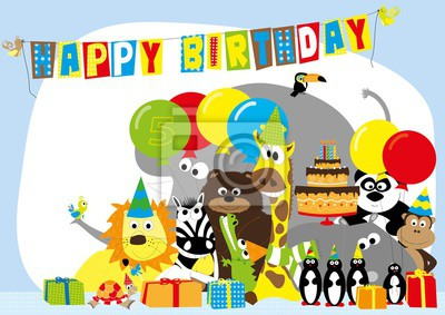 Fototapete Birthday Card For 5 Years Old Child With Happy Wild Animals