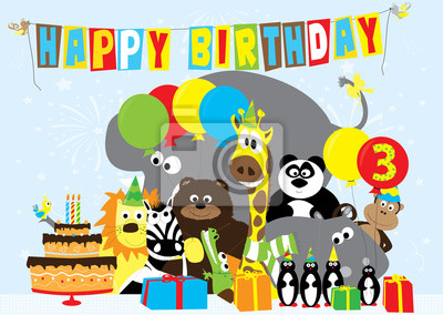 Fototapete Birthday Card With Animals For 3 Years Old Child
