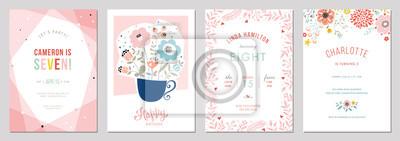 Fototapete Birthday floral card set. Vector illustration.