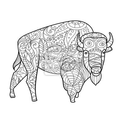 Bison tierischen Malbuch für Erwachsene Vektor