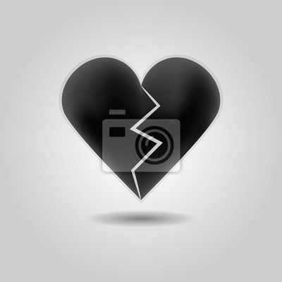 Black Abstract Broken Heart Icon On Gray Gradient Background