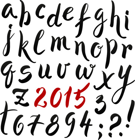 Black and red hand writing lettering alphabet