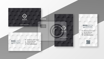 Fototapete black and white business card design template