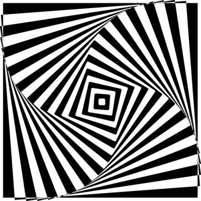 Fototapete Black and White Optical Illusion Vector Illustration.