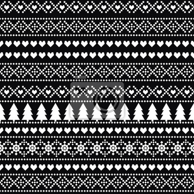 Fototapete Black and white seamless Christmas pattern, card - Scandinavian sweater style. Simple Christmas background - Xmas trees, hearts and snowflakes. Cute vector design for winter holidays.