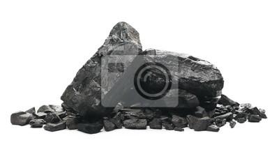 Fototapete black coal chunks isolated on white background
