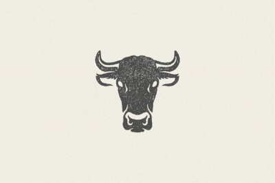 Fototapete Black cow head silhouette with horns designed for meat industry hand drawn stamp effect vector illustration.