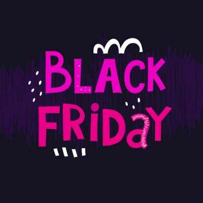 black Friday. Cartoon colorful lettering with decorative elements on a neutral background. vector illustration. hand drawing. design for banners, posters, cards