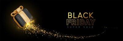 Fototapete Black Friday Super Sale. Realistic 3d design black gifts boxes. Horizontal banner, template header for website. Vector illustration