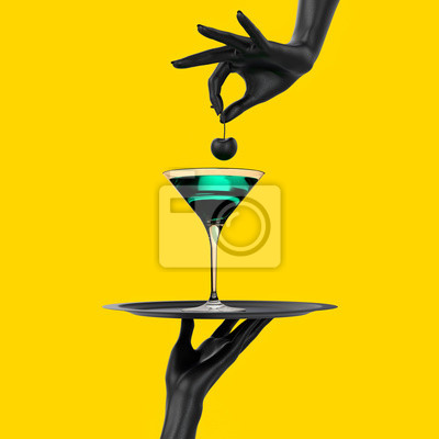 Fototapete Black Hand holding tray with cocktail martini glass isolated on yellow. Party promo banner creative concept with alcoholic drink beverage, 3d illustration.