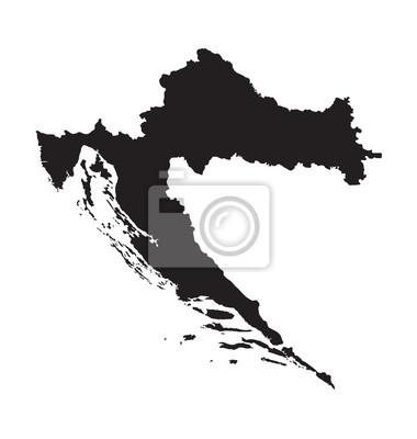 Black map of croatia fototapete • fototapeten Zagreb ...
