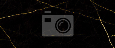 Fototapete black marble background with yellow veins