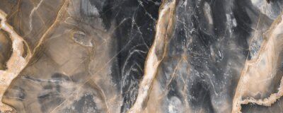 Fototapete Black marble texture background with golden veins, Black marble natural pattern for background, Abstract black white and gold, Black and yellow marble for ceramic wall and floor tiles.
