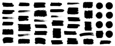 Fototapete Black set paint, ink brush, brush strokes, brushes, lines, frames, box, grungy. Grungy brushes collection. Brush stroke paint boxes on white background - stock vector.