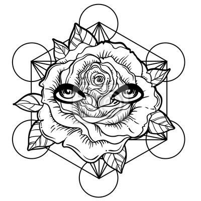Blackwork tattoo blitz. rosenblüte, heilige geometrie, augen ...