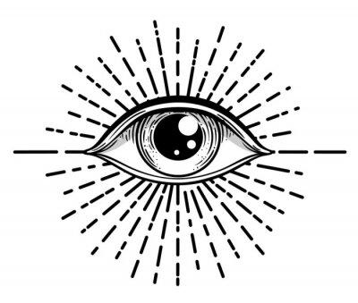Fototapete Blackwork tattoo flash. Eye of Providence. Masonic symbol. All seeing eye inside triangle pyramid. New World Order. Sacred geometry, religion, spirituality, occultism. Isolated vector illustration