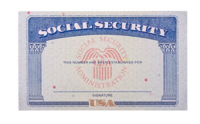 Fototapete Blank and empty unfilled USA social security card isolated against a white background