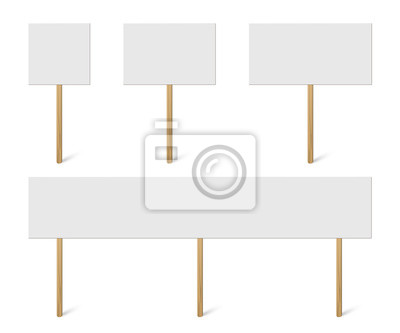 Fototapete Blank banner mock up on wood stick collection. Vector empty different board plank holder set. Protest signs isolated on white background.