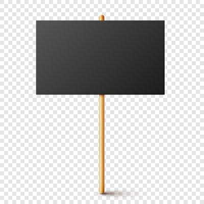 Fototapete Blank black protest sign with wooden holder. Realistic vector demonstration banner. Strike action cardboard placard mockup.