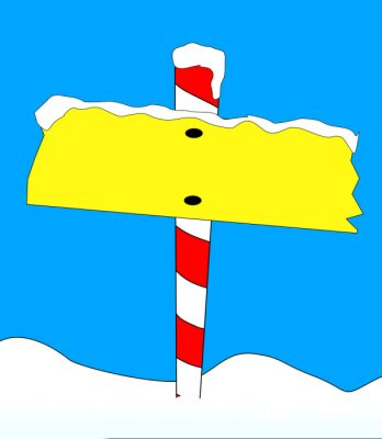 Blank Signpost With A Fall Of Snow