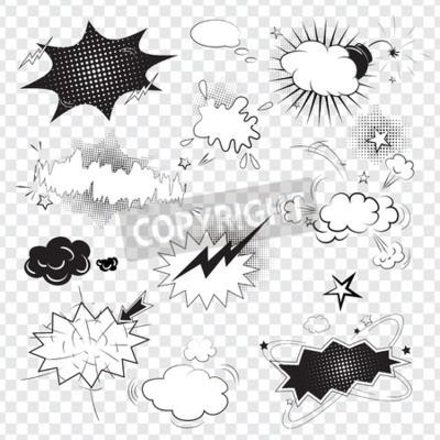 Fototapete Blank Text komische schwarze Sprechblasen im Pop-Art-Stil