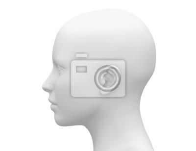 Fototapete Blank White Female Head - Side view