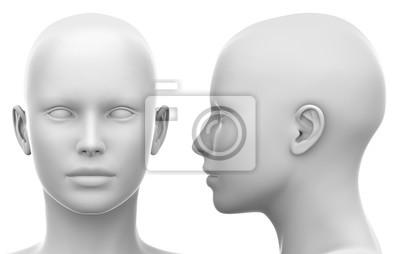 Fototapete Blank White Female Kopf - Seiten-und Vorderansicht