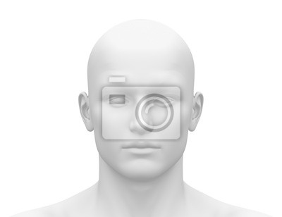 Fototapete Blank White Male Head - Frontansicht