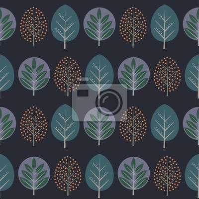 Fototapete Blätter nahtlose Muster. Dekorative Natur Hintergrund mit Bäumen. Skandinavischen Stil Herbst Wald Vektor-Illustration. Design für Textilien, Tapeten, Stoffe.
