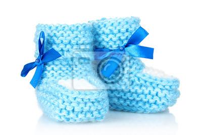 blau Baby Booties blau auf weiß isoliert