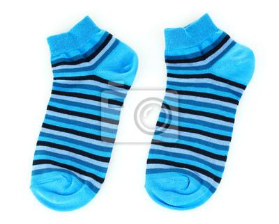 blau gestreiften Socken isoliert auf weiß
