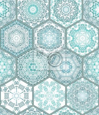 Blau Grun Fliesen Boden Ornament Kollektion Gorgeous Nahtlose
