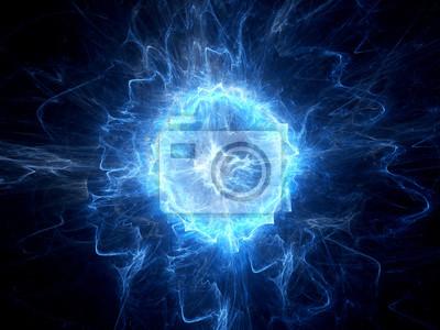 Fototapete Blau leuchtende Kugelblitz