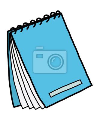 Fototapete Blau Notebook / Cartoon Vektor und Illustration, Hand gezeichnet Stil, isoliert auf weißem Hintergrund.