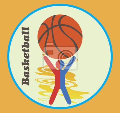 Blau rot Basketball-Emblem