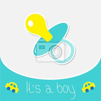 Blau Schnuller. Baby-Dusche-Karte
