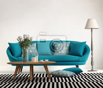 Blau türkis frischen stil, romantisch innenraum wohnzimmer ...
