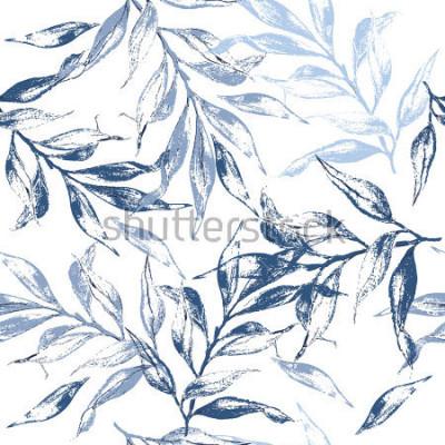 Fototapete Blau verlässt Beschaffenheitsmuster Blumenhintergrund des Aquarells Nahtloses Muster kann für Tapete, Musterfüllen, Webseitenhintergrund, Oberflächenbeschaffenheiten verwendet werden