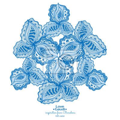 Blaue abstrakte floralen Element mit Text für dekorative Gestaltung.