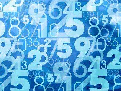 Fototapete blaue abstrakte Zahlen