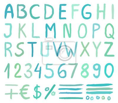 Blaue Aquarell Alphabet Buchstaben mit Zahlen, Symbole