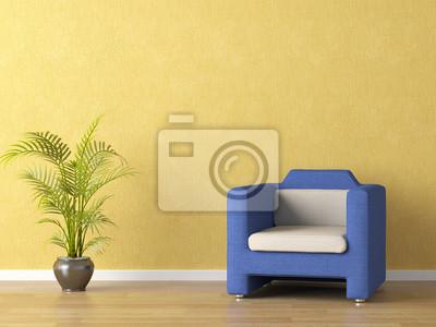 Blaue Couch Auf Gelbe Wand Fototapete Fototapeten Minimal
