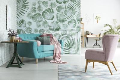 Blaue Couch Im Botanischen Innenraum Fototapete Fototapeten