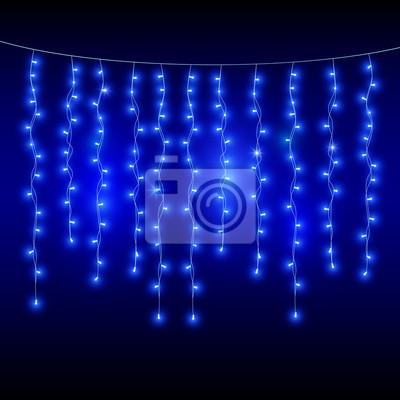 Blaue Weihnachtsbeleuchtung.Fototapete Blaue Girlanden Auf Dunklem Hintergrund Weihnachtsbeleuchtung