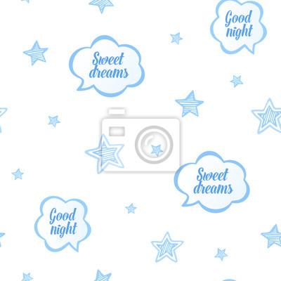 fototapete blaue illustration des babyschlafes mit den sternen und den rede sprudelt nahtloses muster des - Hochzeitsrede Muster
