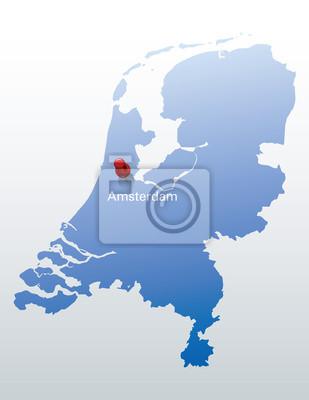 Niederlande Karte Umriss.Fototapete Blaue Karte Der Niederlande Mit Der Angabe Von Amsterdam