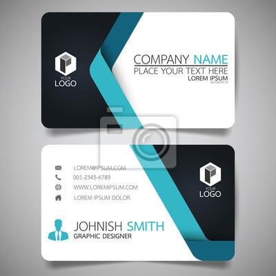 Fototapete Blaue moderne kreative Visitenkarte und Namenskarte, horizontale einfache saubere Vorlage Vektor-Design, Layout in Rechteck Größe.
